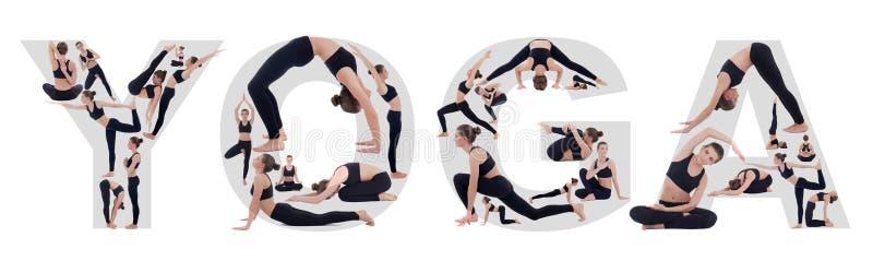 Jeune femme faisant le yoga dans des poses dofferent et formant le mot de yoga images stock