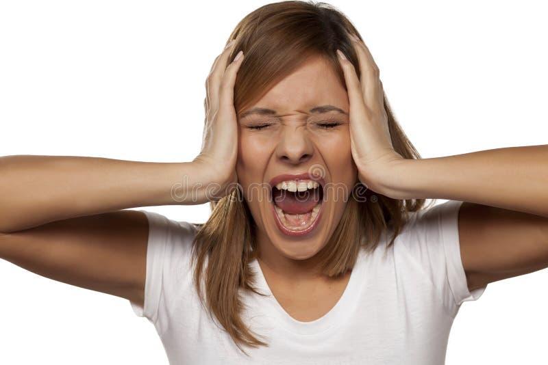 Jeune femme frustrante photos stock