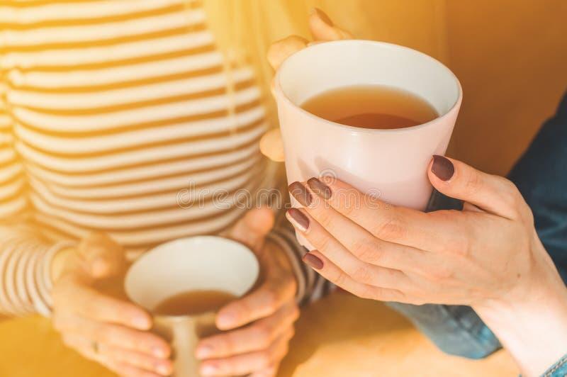 Jeune femme gaie buvant du café ou du thé chaud l'appréciant tout en se reposant en café image libre de droits