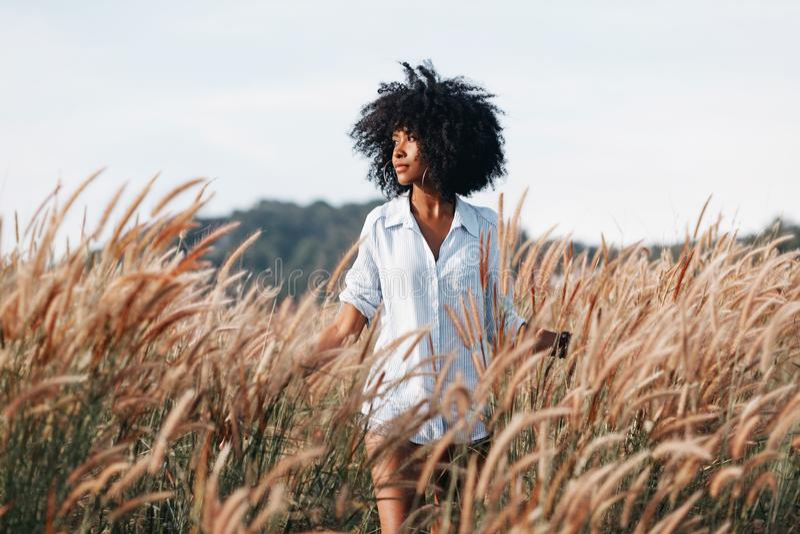 Jeune femme gaie d'afro-américain sur le champ au coucher du soleil photos stock