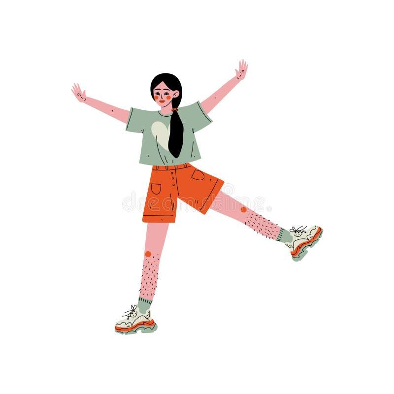 Jeune femme gaie montrant les jambes velues, personnage féminin aimant son corps, acceptation d'individu, diversité de beauté, co illustration stock