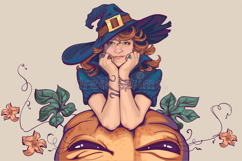 Jeune femme habillée dans le costume de sorcière Vacances Halloween Cosplay illustration de vecteur