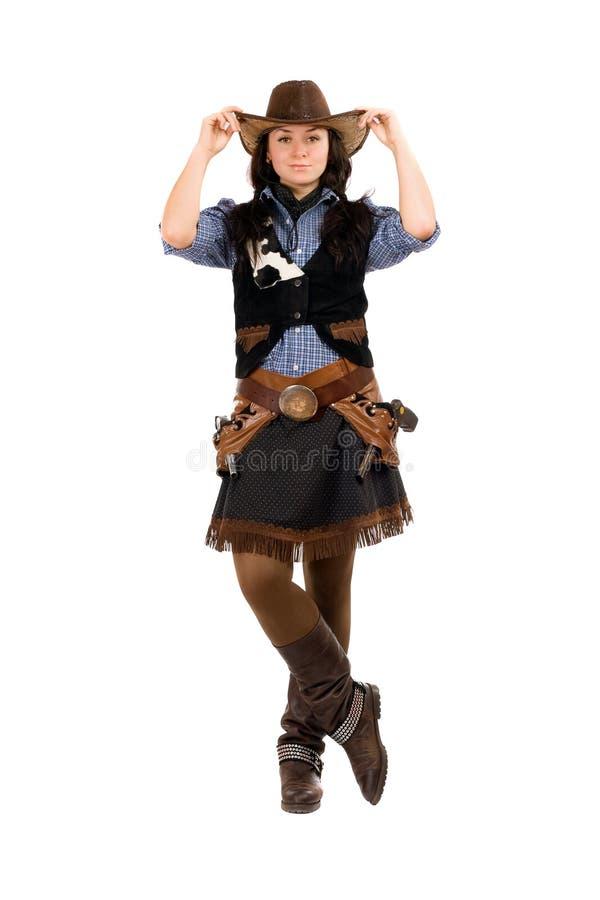 Femme habillée en tant que cowboy image libre de droits