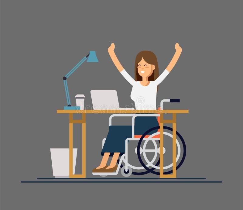 Jeune femme handicapée dans le fauteuil roulant fonctionnant avec l'ordinateur Travail en ligne et démarrage Incapacité physique  illustration libre de droits