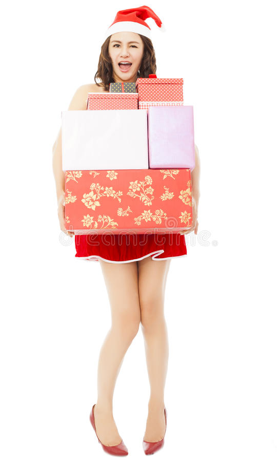 Jeune femme heureuse avec des boîte-cadeau de Noël images libres de droits