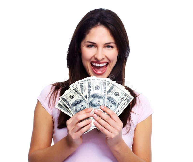 Jeune femme heureuse avec l'argent. image libre de droits