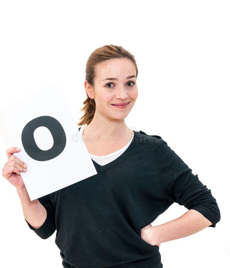 Jeune femme heureuse avec le conseil oui photo libre de droits