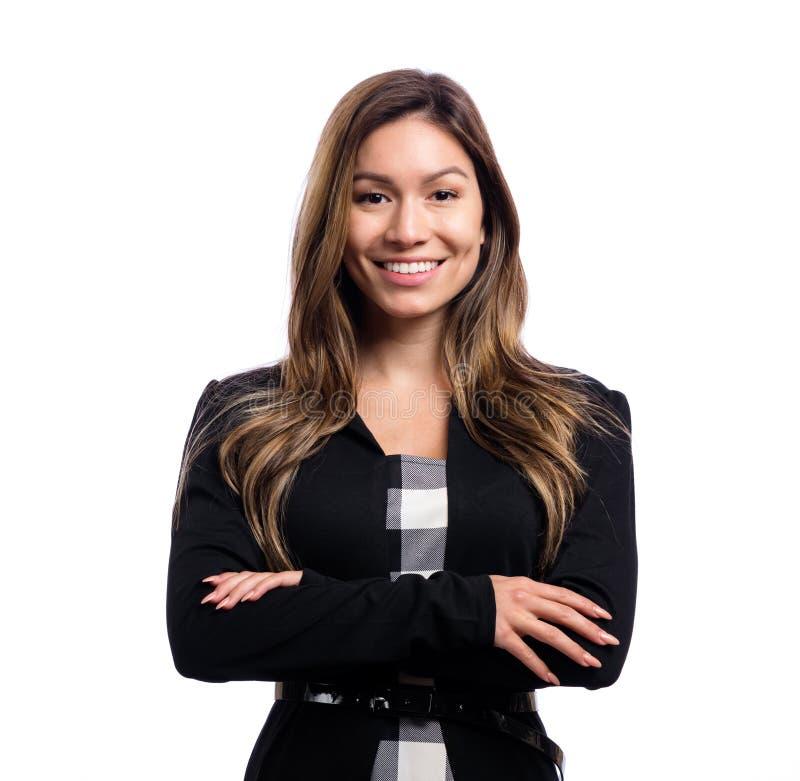 Jeune femme heureuse d'affaires images stock