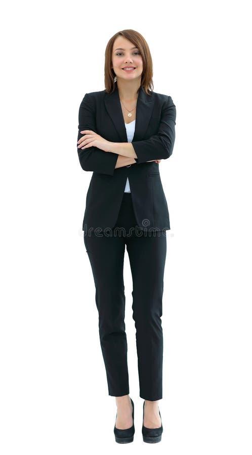 Jeune femme heureuse d'affaires, d'isolement sur le blanc photo stock