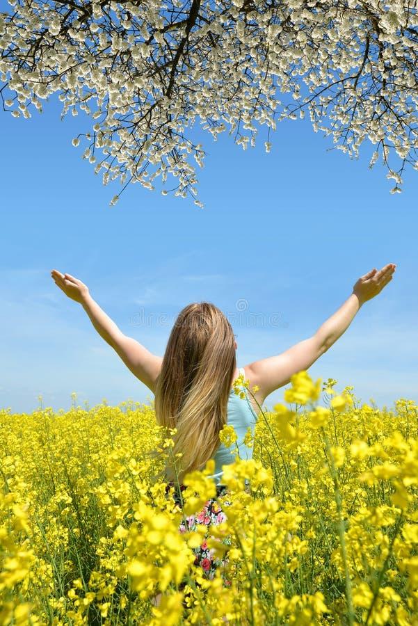 Jeune femme heureuse dans le domaine de graine de colza photos libres de droits
