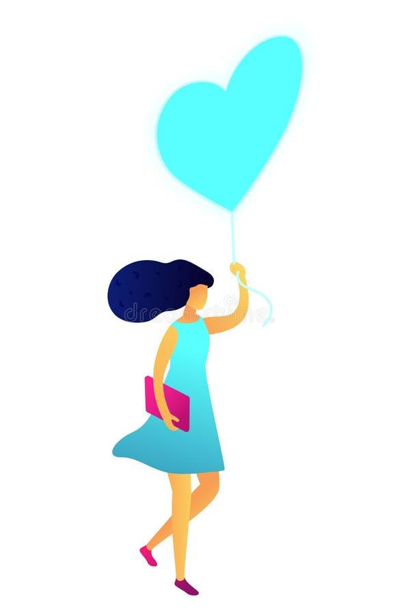 Jeune femme heureuse marchant avec le ballon sous forme d'illustration 3D isom?trique de coeur illustration libre de droits
