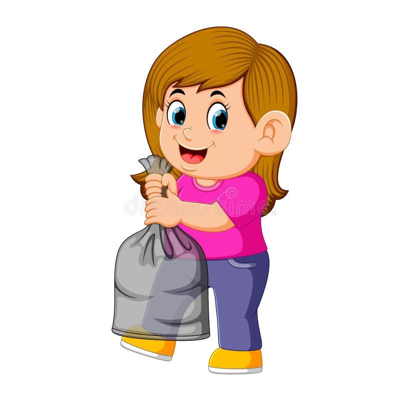 Jeune femme heureuse tenant le sac de déchets illustration de vecteur