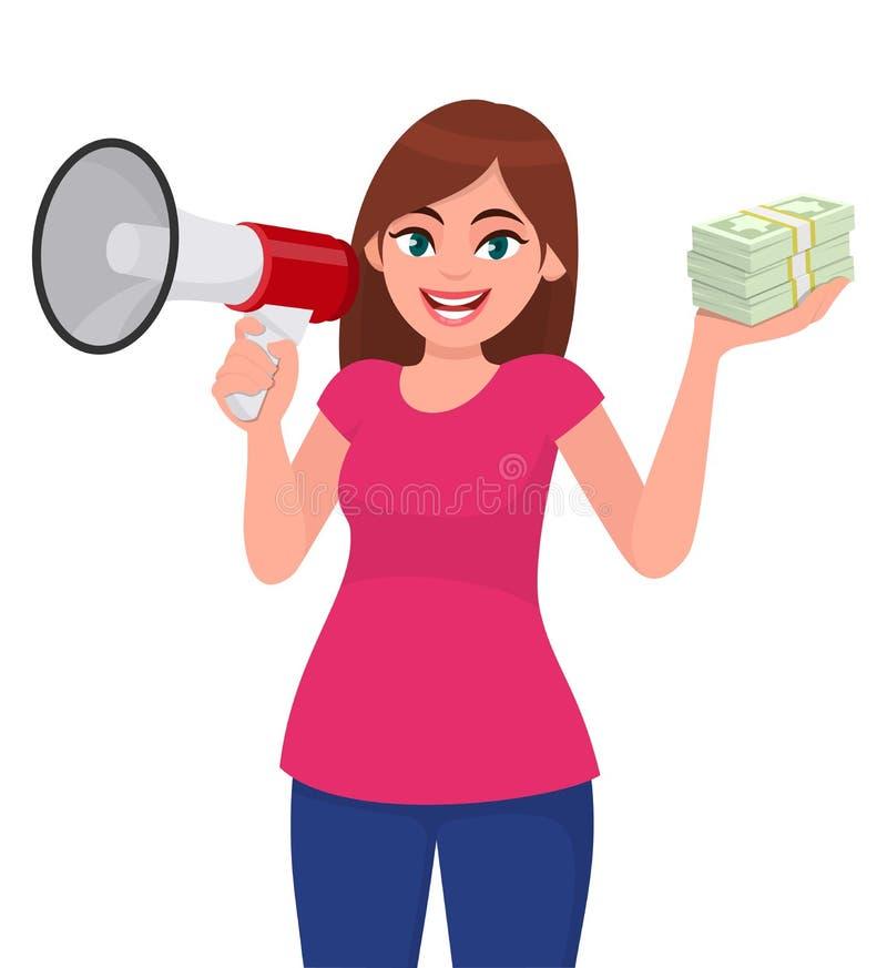 Jeune femme heureuse tenant un mégaphone ou un haut-parleur Groupe d'apparence de fille d'argent liquide, argent, notes de devise illustration stock
