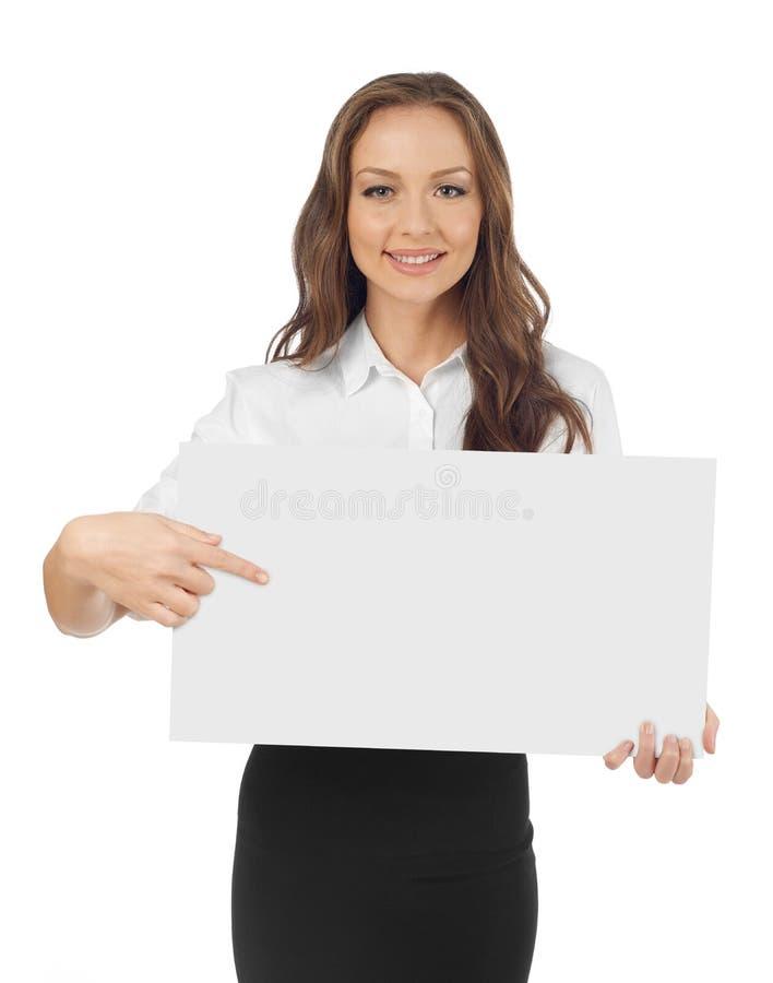 Jeune femme indiquant une bannière images libres de droits