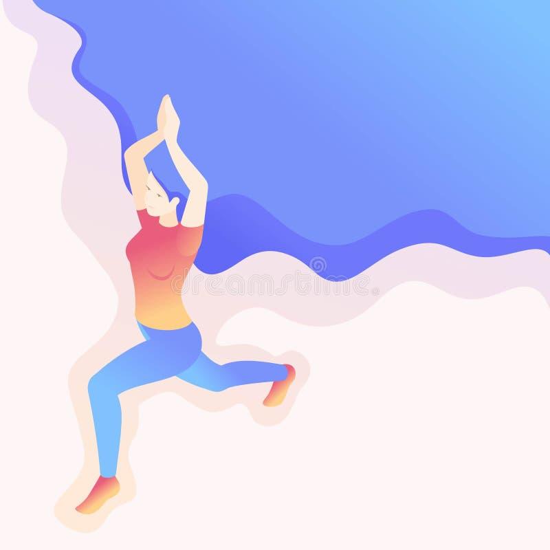 Jeune femme isométrique faisant le yoga, pose Asana illustration libre de droits