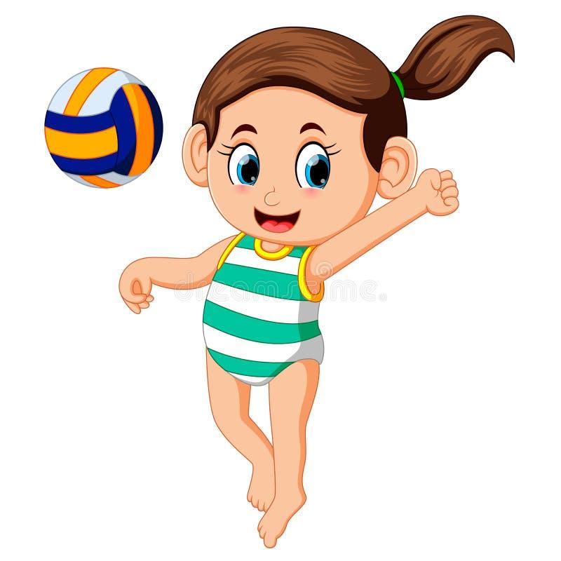 Jeune femme jouant le volleyball sur la plage illustration stock
