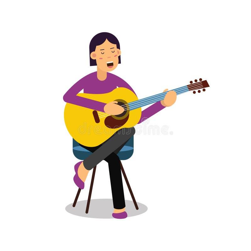 Jeune femme jouant une guitare acoustique et chantant l'illustration de vecteur de personnage de dessin animé illustration stock