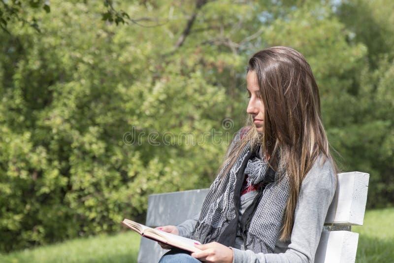 Jeune femme lisant un livre sur un banc de parc images stock