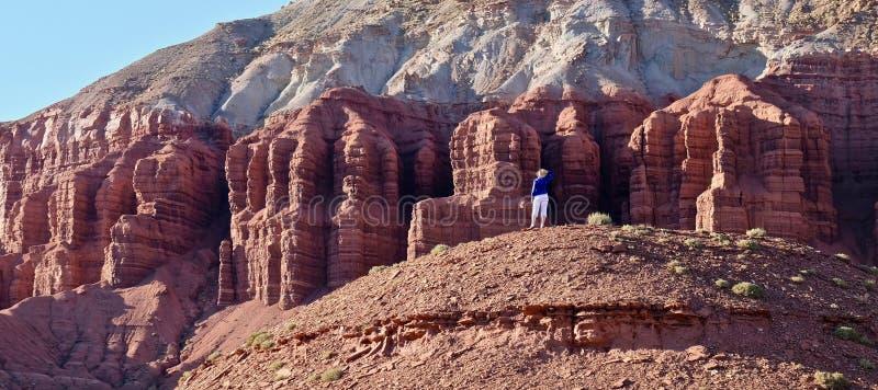 Jeune femme méditant dans le désert de roche photos libres de droits