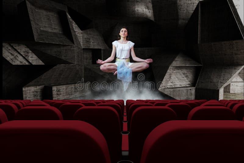 Jeune femme méditant en air dans la chambre 3d avec les sièges vides de cinéma illustration de vecteur