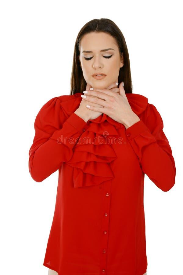 Jeune femme malade malheureuse ayant une angine photographie stock libre de droits
