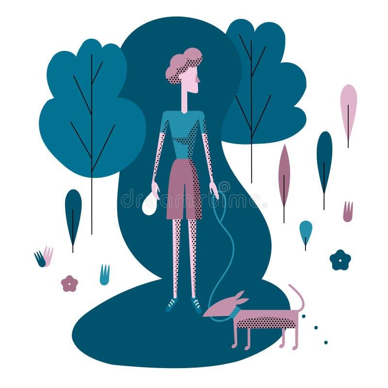 Jeune femme marchant le chien en parc Nettoyez après votre chien L'EC illustration libre de droits