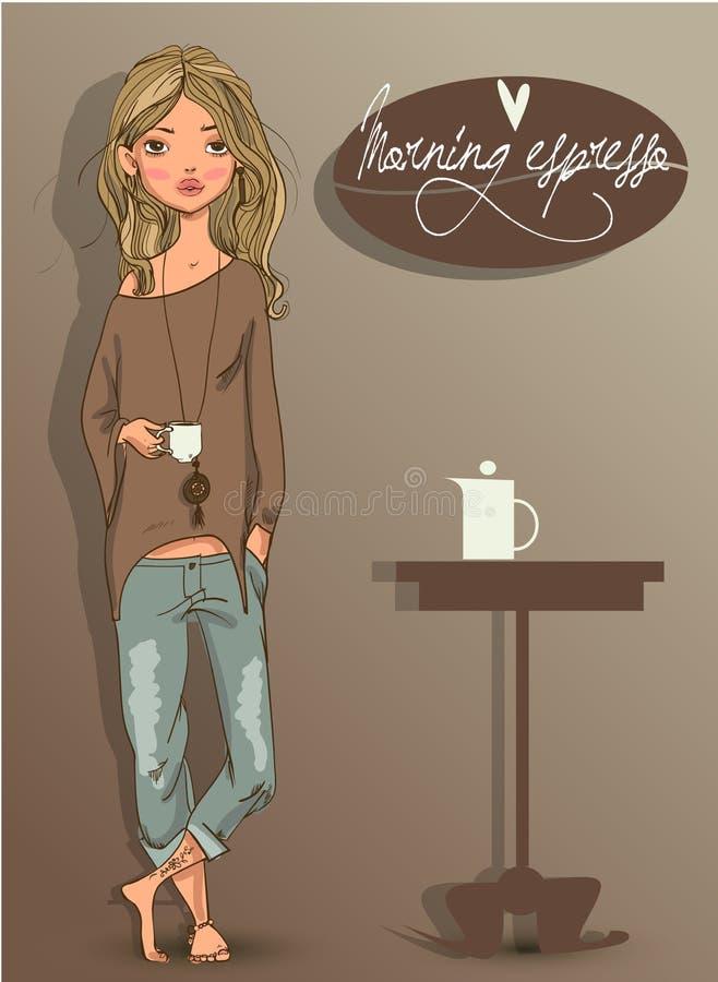 Jeune femme mignonne illustration de vecteur