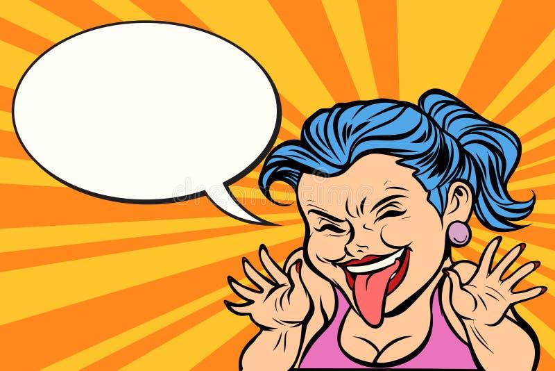 Jeune femme montrant la langue drôle illustration de vecteur