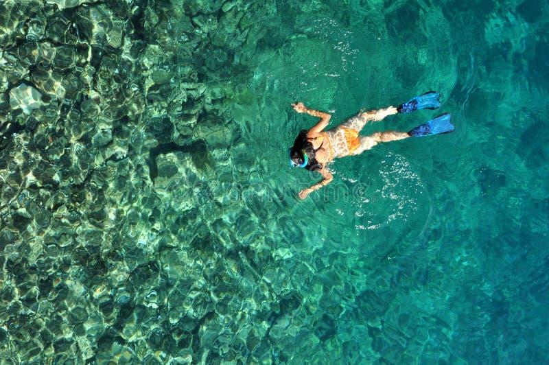 Jeune femme naviguant au schnorchel dans l'eau tropicale photos libres de droits