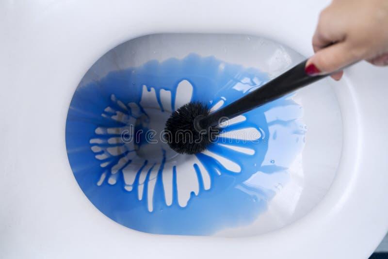 Jeune femme nettoyant une cuvette des toilettes photos libres de droits