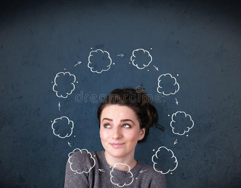 Download Jeune Femme Pensant Avec La Circulation De Nuage Autour De Sa Tête Photo stock - Image du adulte, circulation: 45365652
