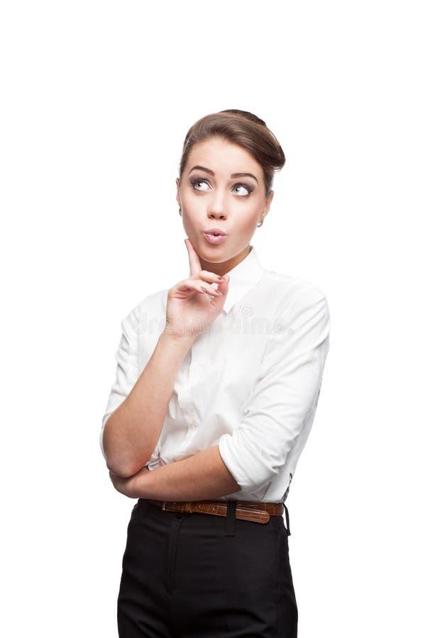 Jeune femme pensive d'affaires photo libre de droits