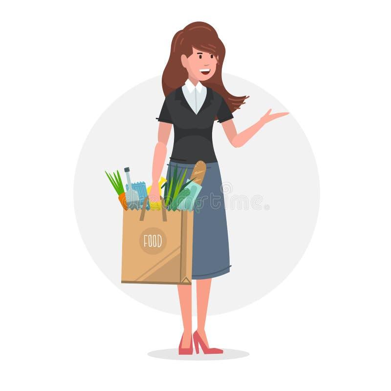 Jeune femme portant un sac de papier de nourriture complètement des épiceries illustration de vecteur