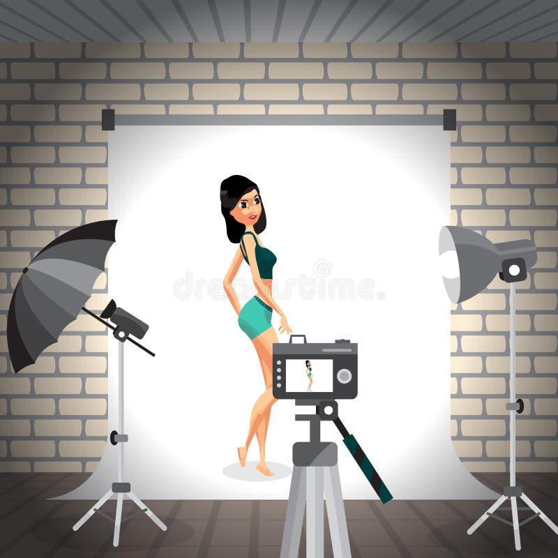 Jeune femme posant dans le studio de photo sur le fond blanc Vecteur f illustration stock