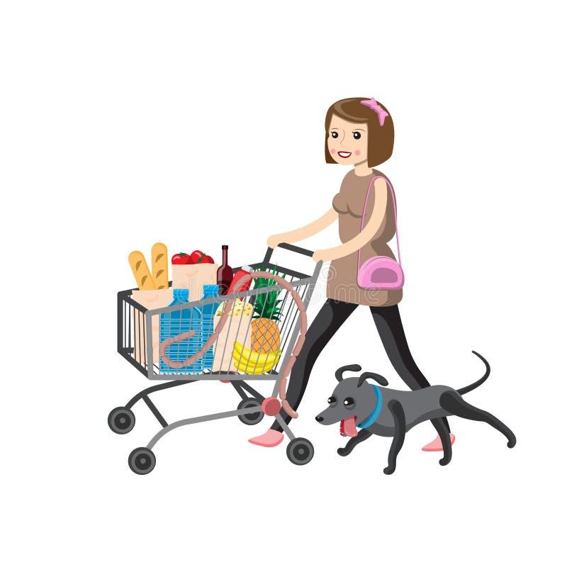 Jeune femme poussant le caddie de supermarché complètement de prochaines courses de chien d'épiceries pour des saucisses Illustra illustration stock