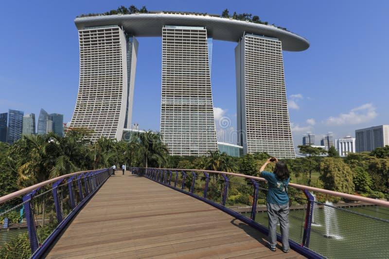 Jeune femme prenant une photo de l'hôtel de Marina Bay Sands des jardins par la baie photo stock
