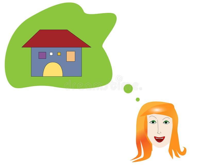 Jeune femme rêvant de sa propre maison illustration stock