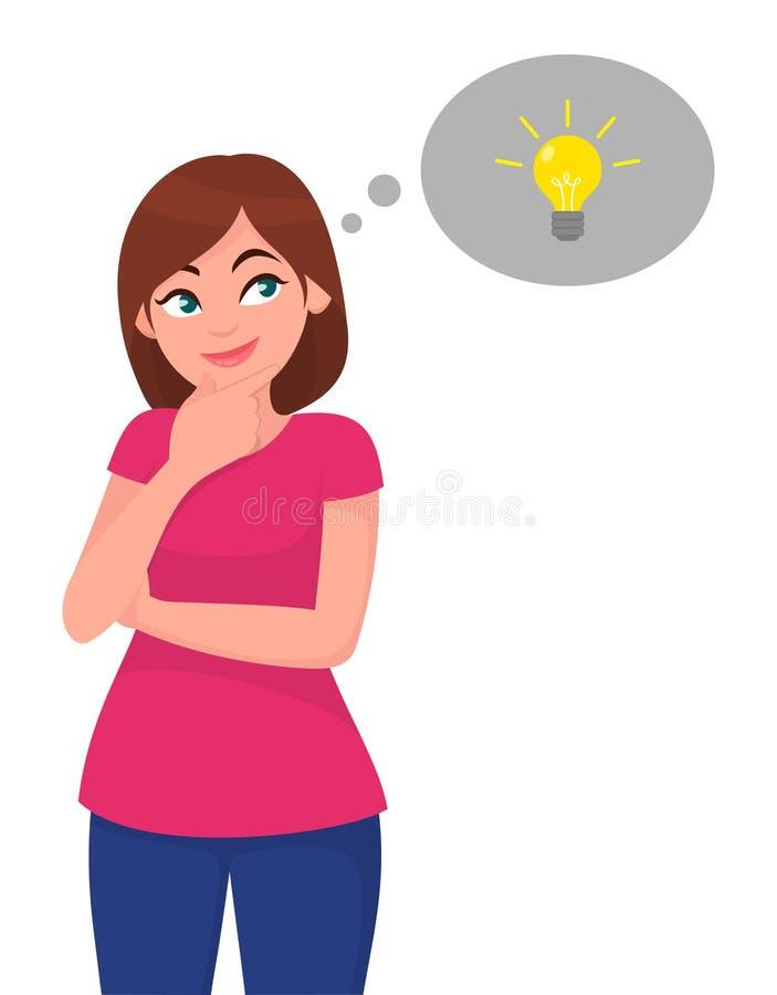 Jeune femme recherchant, dans la bulle de pensée rougeoyant une ampoule Idée et concept créatif illustration de vecteur