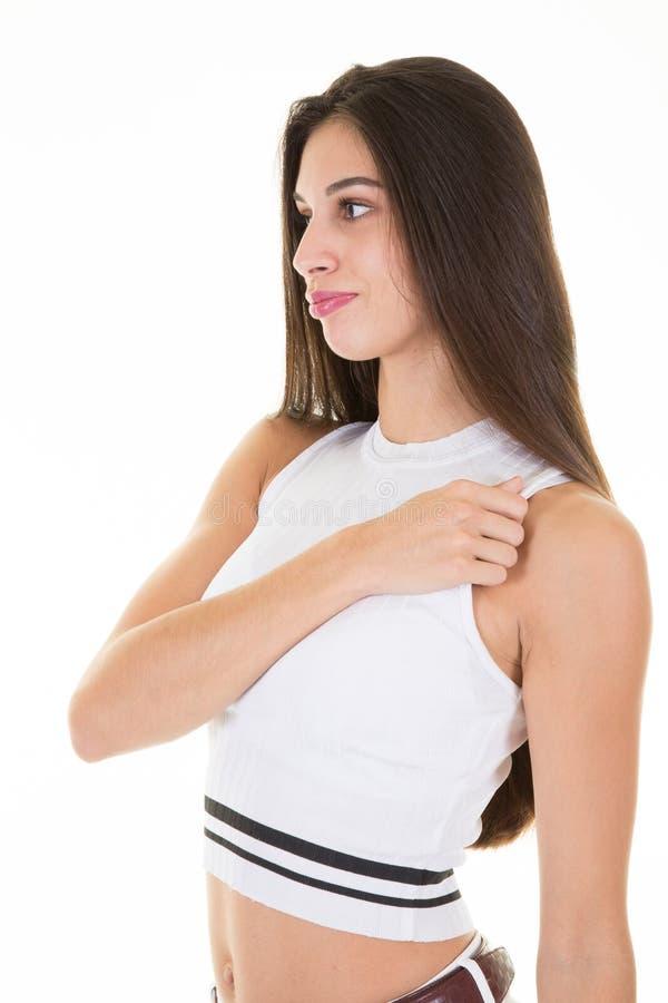 Jeune femme regardant de son côté dans le profil photo libre de droits