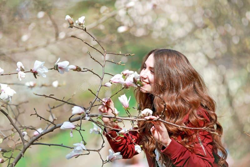 Jeune femme reniflant un arbre fleurissant dans le jardin photographie stock