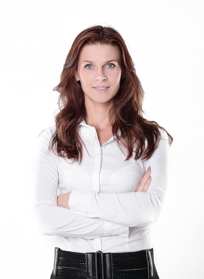 Jeune femme sûre d'affaires d'isolement sur le fond blanc image stock