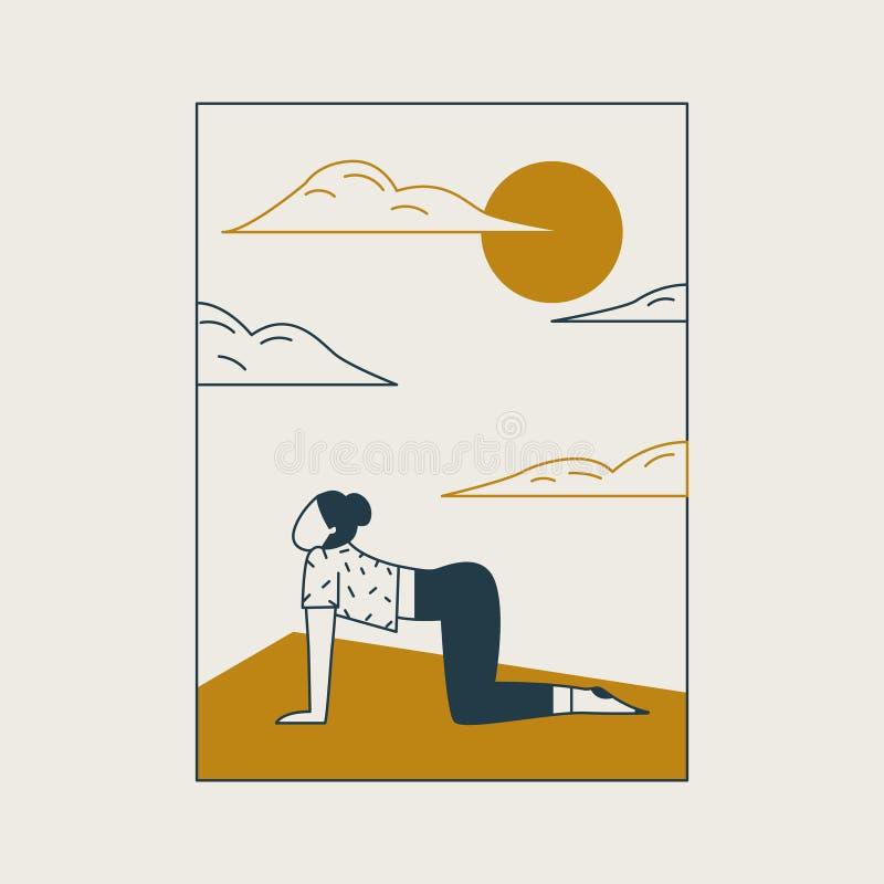 Jeune femme s'asseyant dans la posture de yoga et m?ditant Fille faisant l'exercice et la méditation d'aérobic à la maison illustration libre de droits