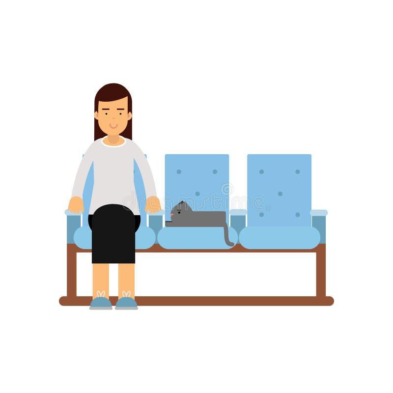 Jeune femme s'asseyant dans le hall de attente avec son chat prévoyant pour rendre visite à un docteur, illustration colorée de v illustration libre de droits
