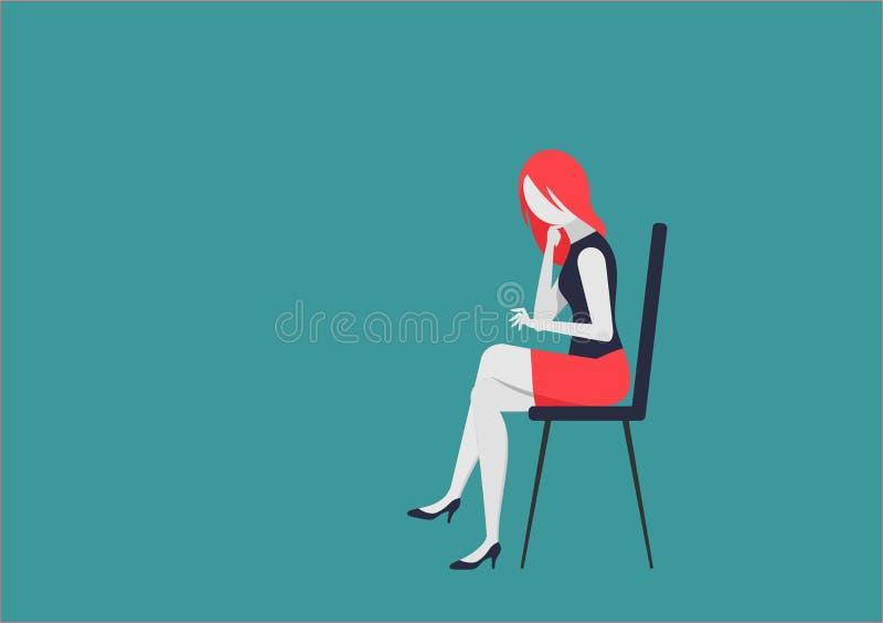 Jeune femme s'asseyant sur la chaise et les travaux illustration stock