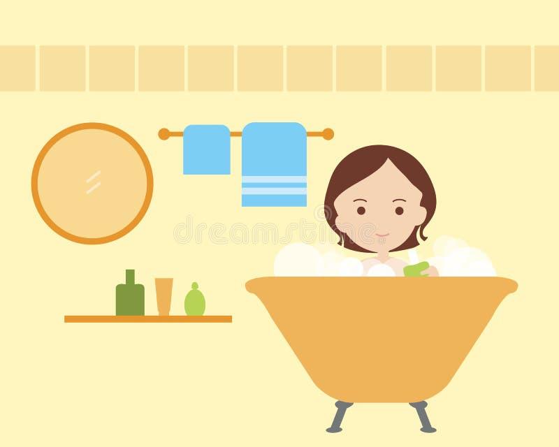 Jeune femme se baignant dans la salle de bains avec la serviette, le miroir et le bain, OIN illustration de vecteur