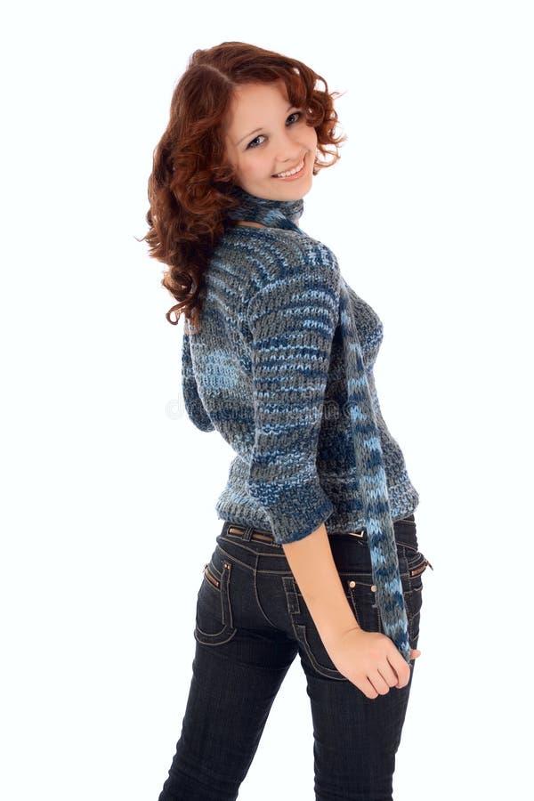 Jeune femme sexy dans des jeans. image libre de droits