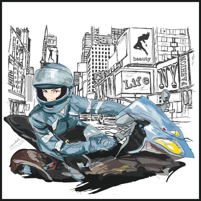 Jeune femme sexy de mode s'asseyant sur la moto illustration libre de droits