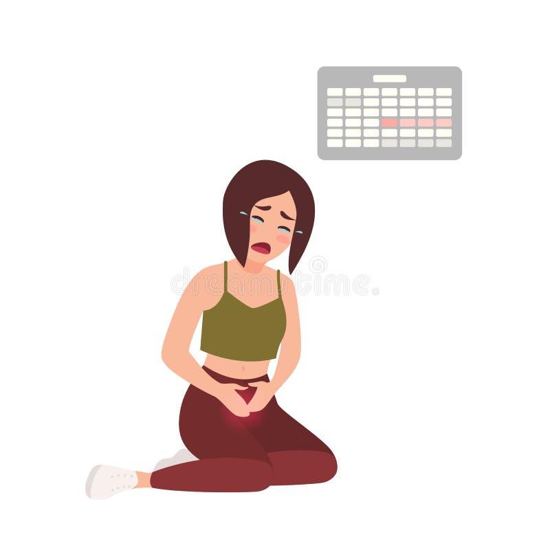 Jeune femme souffrant des règles douloureuses contre le calendrier accrochant sur le mur sur le fond Séance affligée de fille illustration de vecteur