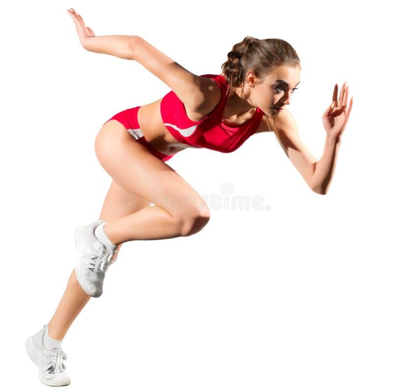Jeune femme sportive d'isolement photo stock