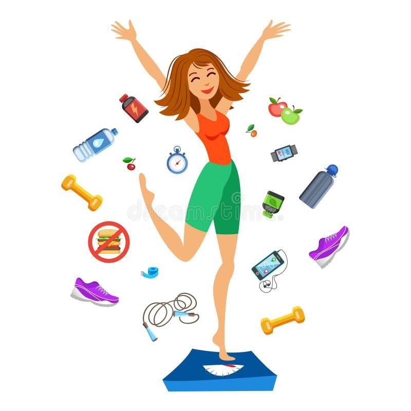 Jeune femme sportive sautant sur les échelles Fille heureuse d'ajustement illustration stock